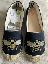 Joules Ladies UK 6 Shelbury Navy Bee / Beehive Shoes Espadrilles - BNWT 🐝