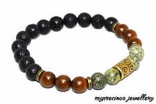 Natural Jade Chalcedony Beaded Rosewood Serpentine Gemstone Bracelet Stone UK