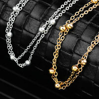1Pcs Woman Stainless Steel Bead Bracelet Chain Silver Smooth Ankle Anklets