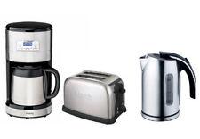 H.koenig Edelstahl-Frühstücksset Thermo-Kaffeemaschine+1,7L Wasserkocher+Toaster