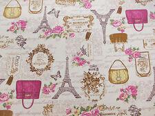 Ivoire eifell tower, paris, france imprimé 100% coton toile tissu.