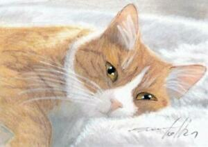 ACEO original pastel drawing ginger tabby cat  by Anna Hoff