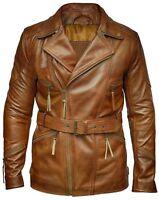 Men's Vintage Retro Classic Motorcycle Winter Brown Biker Leather Coat Jacket