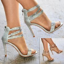 297829936c1d Ladies Diamante Strappy Stiletto Sandal Shimmer Party Heels Shoes for Women  Size
