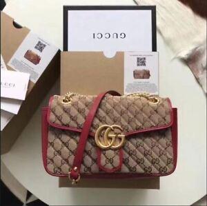Gucci Gg Crossbody Marmont Matelasse Calfskin BeigeLeather Shoul
