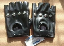 Blue Banana BLACK FINGERLESS STUDDED FAUX LEATHER BIKER PUNK / Emo GLOVES NWT!