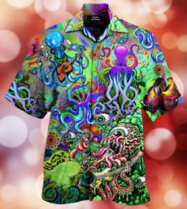 Octopus Trippy Hawaii Shirt Men Hawaiian Shirt 3D HAWAIIAN SHIRTS 3D Size S-5XL