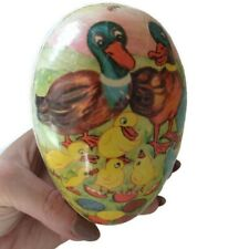 5 Inch German Easter Egg Paper Mache Candy Container Duck Scene East Germany Vtg