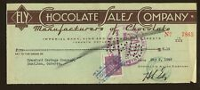 1945 Imperial Bank Ontario Canada ELY Brand Chocolate Sales Company Check