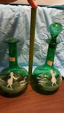 MARY GREGORY GREEN BITTERS / BARBER'S BOTTLE / DECANTER - LOT OF 2