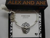 Alex and Ani PINECONE Bangle Bracelet Rafaelian Silver New Tag Box Card
