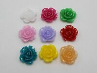 50 Mixed Color Flatback Resin Floral Flower Cabochons 15mm Embellishments