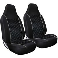 Deluxe Square Quilted Black With Grey Piping Car Van 4x4 MPV Seat Cover Set 1+1
