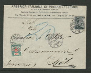 Switzerland 1914 Postage Due cover Italy - Basel, Schweiz Suisse Porto Taxe