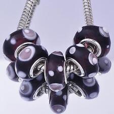 5Pcs Silver Gold Crystal Murano Glass Charm Bead Loose European DIY Bracelet
