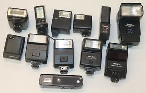 Lot of 12 Vintage Flash Units: Canon, Sunpak, Focal, Vivitar, Minolta, Olympus