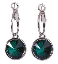 Swarovski Elements Crystal Emerald Harley Pierced Earrings Rhodium Plated 7164w