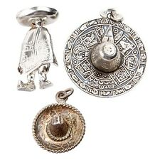TWO (2) STERLING SILVER SOMBRERO MEXICAN HATS & ONE MEXICAN MAN BROOCH