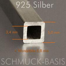 925 Silber Vierkant-Hohlprofil 5 x 5 mm; Länge 2,5 cm