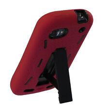For ZTE Warp Sequent Impact Hard Rubber Case Phone Cover Kick Stand Red Black
