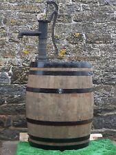 50 gallon oak barrel water butt & working hand pump and painted bands