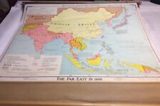 "VINTAGE 1969 Denoyer-Geppert Pull Down School Map ""The Far East in 1895"" 03063A"