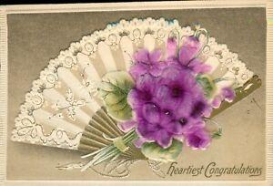 Heartiest Congratulations - Vintage 1912 Embossed Postcard - Fan, Purple Flowers