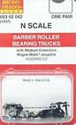 Micro-Trains N #1037 Barber Roller Bearing Trucks w/ med. ext. couplers 1 pr.
