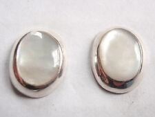 Genuine Mother of Pearl 925 Sterling Silver Oval Stud Earrings