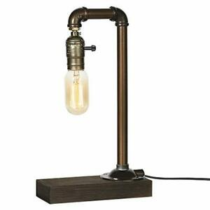 Vintage Table Lamp, Retro Industrial Iron Water Pipes&Wooden Base Bedside lamp
