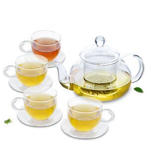 8in1 Tea Set -1*680ml Heat Resistant Clear Glass Tea Pot+4*100ml Cups+4*Saucers