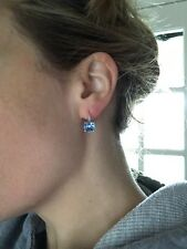 14K White Gold Blue Topaz Checkered Cut Diamonds Lever Back Earrings 4 Carats8mm