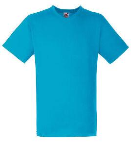 T-shirt uni homme col V manches courtes FRUIT OF THE LOOM  COULEUR BLEU AZUR