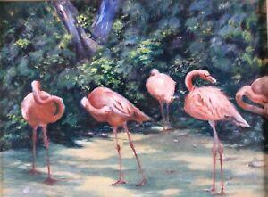 "Flamingos Original Oil Painting, 12x16 **unframed"" Beautiful!! Free Shipping!"