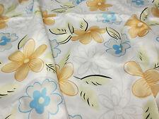 "Cute Orange & Blue Chunky Flowers Printed 60""  Satin Dress Fabric."