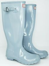 Hunter Sz 6 US 37 EU Original Tall Gloss Pale Blue Grey Rainboots Boots Wellies