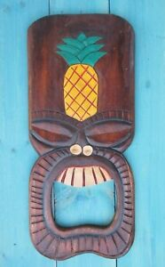 WOOD CARVED PLAQUE PINEAPPLE TIKI BAR HAWAIIAN DECOR SURF TROPICAL HAWAIIAN