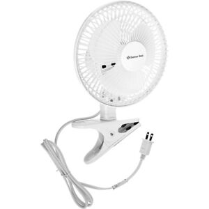 Clip On Electric Fan 6 Inch Mini 2 Speed Adjustable Tilt Comfort Zone New, White