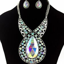 Premium Iridescent AB Large Teardrop Gemstone Rhinestone Necklace with Earrings