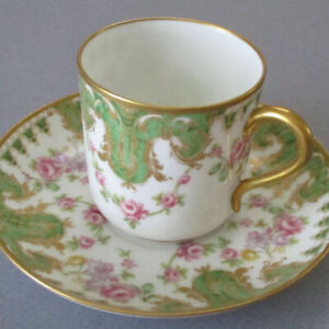 Antique HAVILAND Porcelain Demitasse Cup + Saucer PINK ROSE SWAGS * Gilt Trim