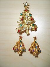 Vintage Signed Cerrito Christmas Tree Pin Rhinestones With Matching Earrings