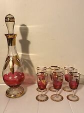 Sale Rare Bohemia Cut Crystal Decanter w/ 6 Glasses Etched Cranberry Gold Design