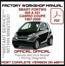 OFFICIAL WORKSHOP MANUAL service repair FOR SMART 450 & 451 FORTWO 1997 -2009