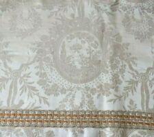 "Beautiful Antique c1880 French Romantic Toile Silk Damask Valance~L-54"" X W-18"