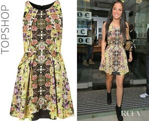 Topshop Ladies 12 Dress Skater Origami Fold Floral Psychedelic Fully Lined NEW