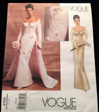 Vogue Pattern 2720 Bridal Retro Close Fit Lined Dress w/ Lined Train Sz. 6-8-10