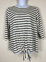 NWT Old Navy Womens Plus Size 2X Ivory Striped Tie Front Blouse 3/4 Sleeve