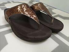 Fit Flop Summer Sandals 7 (41) Sequin Glitter Gold & Brown