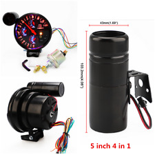 5 inch 4 in 1 Car Water Oil Temp RPM Tach Meter Oil Pressure Gauge Meter Black