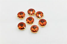 30 pcs 12mm Rivoli Orange Crystal Glass Sew on Rhinestone Sewing On Craft